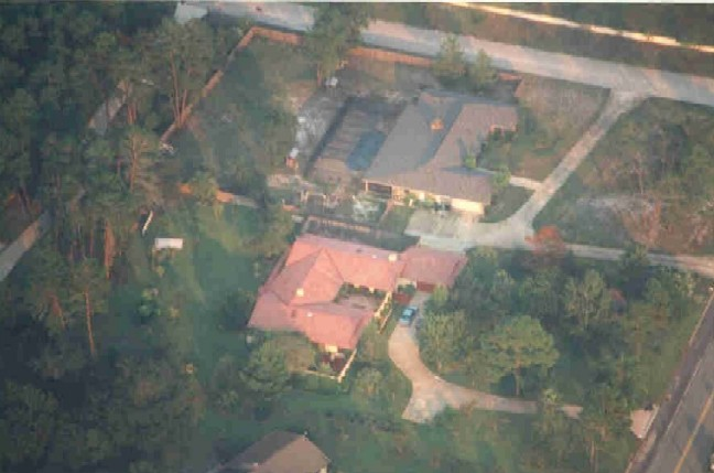 And At Last We Are Back At 'Los Pinos' Our home In Florida....The Red Tile Roof Estate As Seen From High Up In The Sky.  There Is No Place Like Home